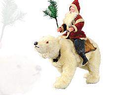 Santa on Nodding Polar Bear
